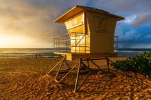 Lifeguard Tower At Sunset Beach In Oahu, Hawaii