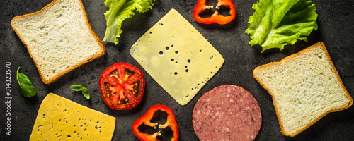 Ingredients for sandwich on a black background.