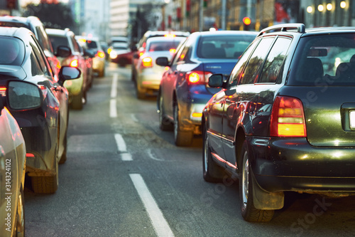 Fotografie, Tablou  traffic jam or collapse in a city street road