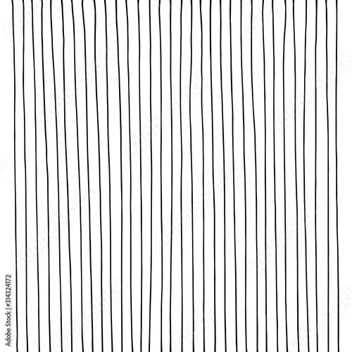 Fotografía  Hand drawn vertical parallel thin black lines on white background