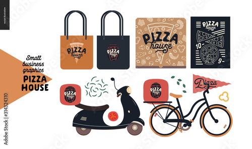 Photo Pizza house - small business graphics - branded elements and delivery