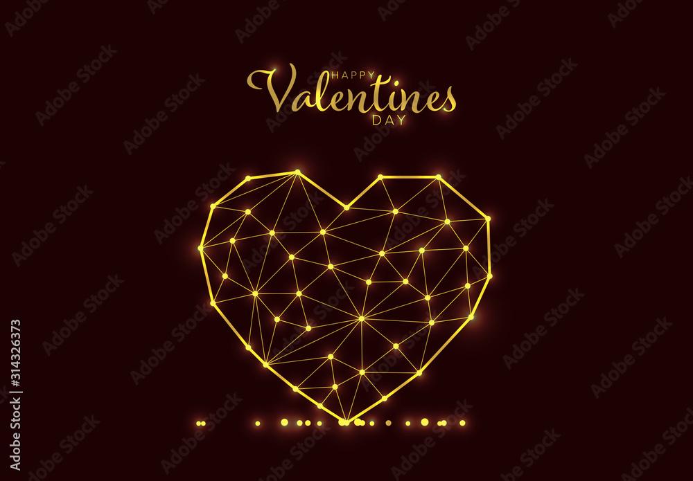 Fototapeta Happy Valentines Day Card Layout