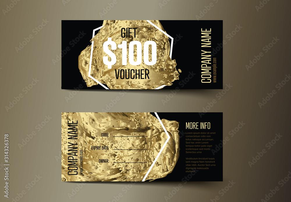 Fototapeta Golden Gift Voucher Card Layout