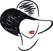 Abstract Woman Portrait In Hat...
