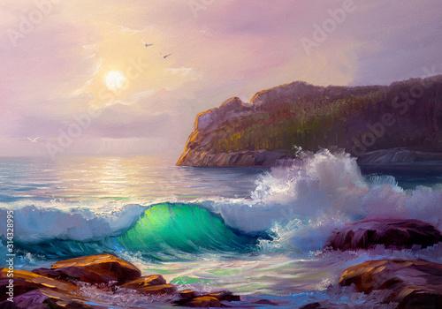 malowanie-pejzaz-morski-fala-morska