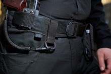 Army Set On A Man?s Belt: Carbine, Pistol, Lasso.