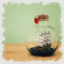 Oil Painting Style Illustration Of Sail Boat In The Bottle Over Wooden Table