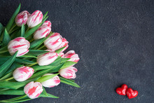 Two Red Hearts And Flower Bouq...