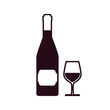 wine bottle with glass cup block line style icon