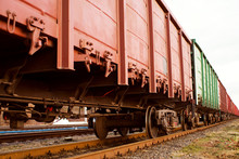 Freight Train Wagon On Rails C...