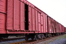 Freight Train Wagon On Rails Close Up