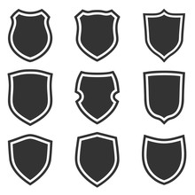 Shield Shape Icons Set. Gray L...
