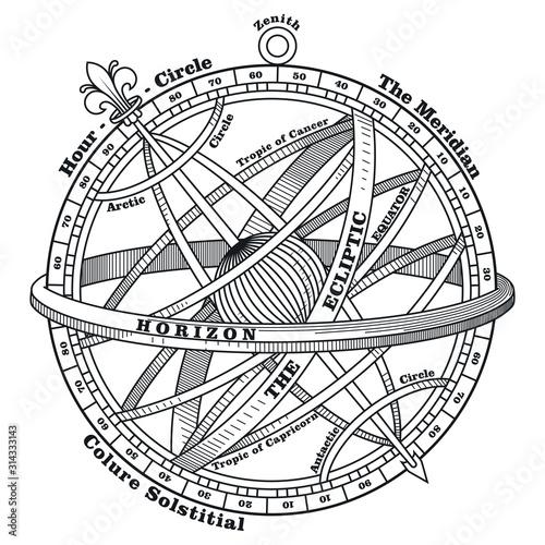Photo Vintage navigation device, Armillary sphere, vintage hand drawn illustration