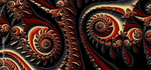 Whimsical Vortex Design  - Brown Wide Fractal Bright Helix Background Tapéta, Fotótapéta