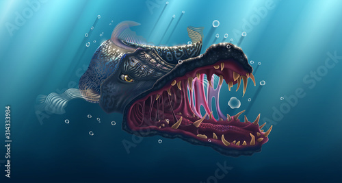 Predator fish seascape, shark drawing under water landscape, predatory pike in deep sea, ancient shark vector wildlife illustration, fishing poster with wild fish over blue background.