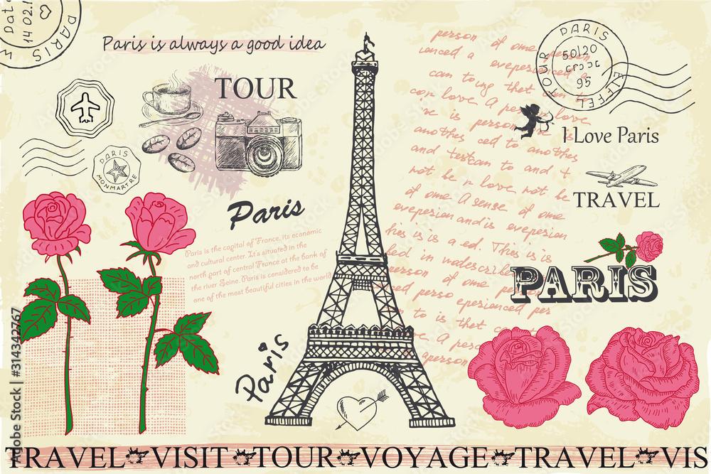 Fototapeta Retro postcard with Eiffel tower in Paris, France.