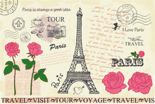 Retro Postcard With Eiffel Tow...