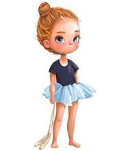 Cartoon Little Ballerina With ...