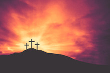 Three Easter Crosses On Hill O...