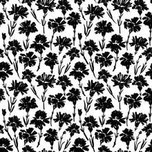 Carnation Flower Seamless Pattern. Abstract Brush Strokes Flowers Background. Chamomile, Daisy, Chrysanthemums Blooming.