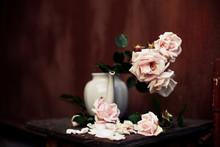 Beautiful Still Life Of Roses In   Vase
