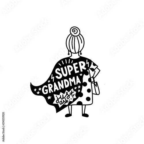 Fototapeta Super grandma graphic lettering