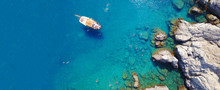Aerial Drone Ultra Wide Photo Of Famous Paradise Rocky Bay And Beach Of Anthony Quinn In Rodos Island, Dodecanese, Greece