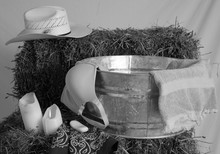 Cowgirl Bath In Black And White