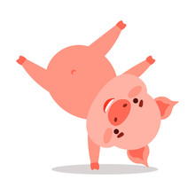 Cute Pink Piglet Character Sta...