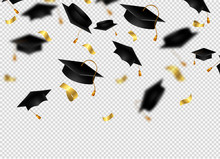 Flying Graduation Caps With Co...