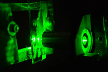 Green Light In The Laboratory. Green Laser In Dark.