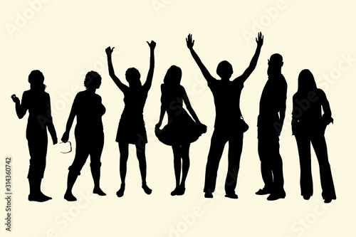 Obraz Vector silhouettes of tourists standing in a row, a group of 7 people of different ages, gender and height. The concept of positive, holiday, joy. Youth at a party, friends during a meeting. - fototapety do salonu