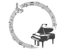 ピアノ、音符の素材イラスト(フレーム)