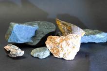 Non Ferrous Metal Stones. Stones On The Table.
