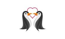 Penguin Romantic Simple Vector...