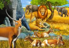 Cartoon Safari Scene With Fami...
