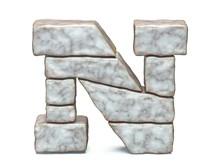 Rock Masonry Font Letter N 3D