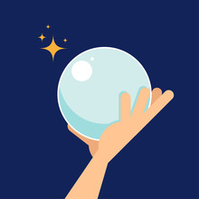 Crystal Ball Flat Design Isola...