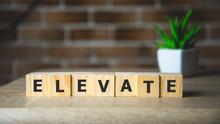 Elevate Word Written On Wood B...