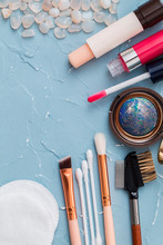Cosmetics On A Turquoise Backg...
