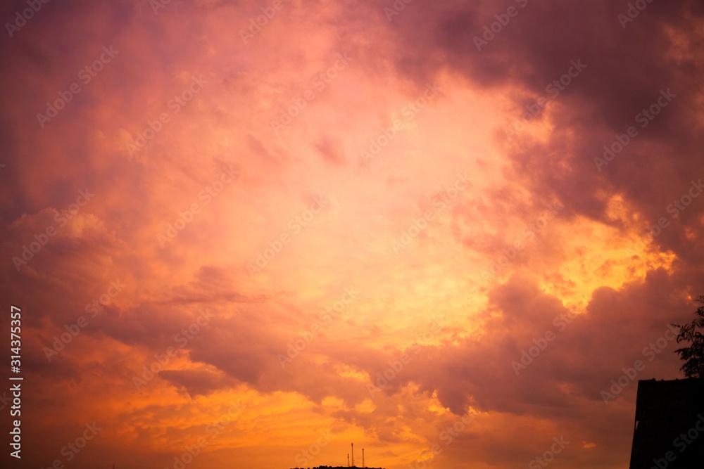 Fototapeta dark red sky and smoke wildfire  global warming background