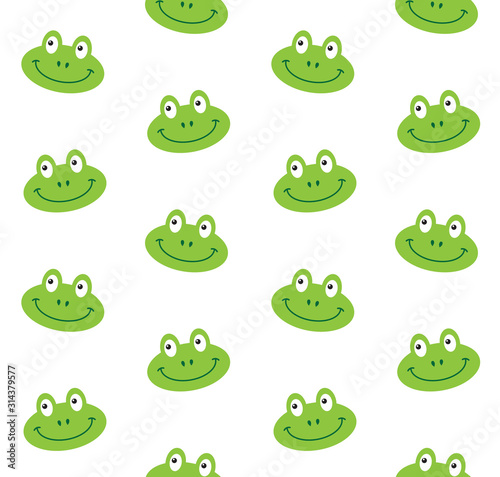Photo Vector seamless pattern of flat cartoon frog face isolated on white background