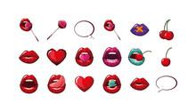 Isolated Female Mouths Set Vec...