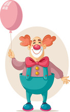 Funny Vector Party Clown Holdi...