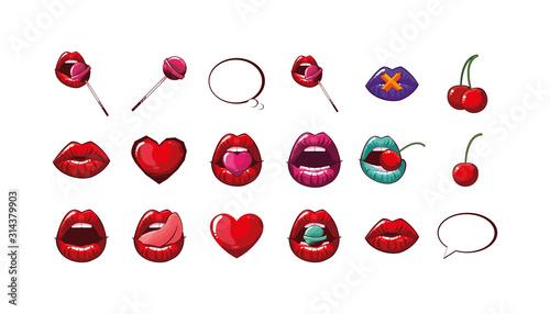 Obraz Isolated female mouths set vector design - fototapety do salonu
