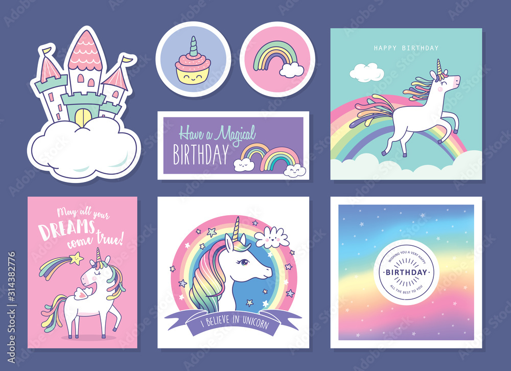 Set of birthday gift tags/ cards/ stickers with cute unicorns, rainbow and magical elements