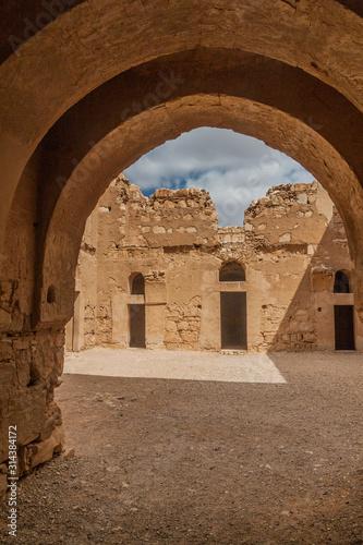 Fototapeta Ruins of  Qasr Kharana (sometimes Harrana, al-Kharanah, Kharaneh or Hraneh), desert castle in eastern Jordan obraz na płótnie