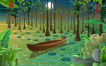 Firefly And Boat In The Swamp