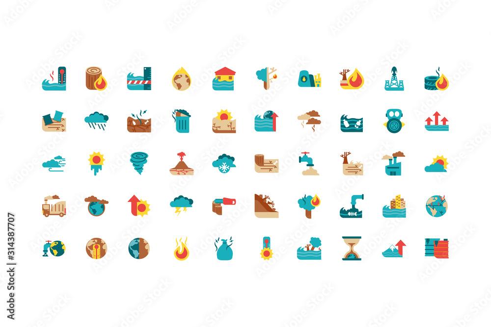 Fototapeta Isolated climate change icon set vector design