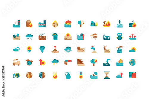 Obraz Isolated climate change icon set vector design - fototapety do salonu